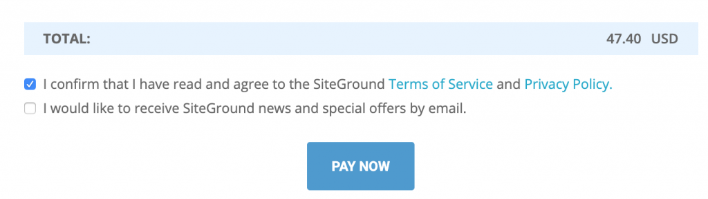 pay now , last step Siteground sign up